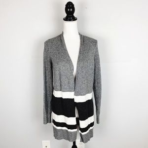 Loft Outlet Gray Striped Open Cardigan